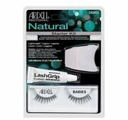 ARDELL_SET Natural Babies 1 para sztucznych rzęs Black + Lash Adhesive klej do rzęs 2,5g + Lash Applicator aplikator do rzęs Ardell