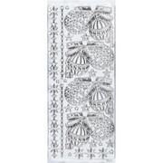Sticker srebrny 01875 - bombki x1