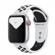 Apple Zegarek Nike Series 5 GPS+Cellular, 40mm koperta z aluminium w kolorze srebrnym z paskiem sportowym Nike w kolorze czystej apple