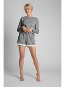 Bawełniane damskie szorty od piżamy z koronkowym brzegiem szare LA042 LaLupa
