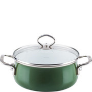 R-0711-013 Garnek duży ze szklaną pokrywą, zielony, emalia porcelanowa Riess Verde 4 Litry (R-0711-013)