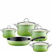 R-0558-036 Garnki zielone i patelnia Riess Smaragd emalia porcelanowa, 5-części (R-0558-036)