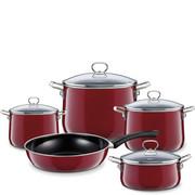 R-0558-008 Garnki stalowe z patelnią, emalia porcelanowa Riess Rosso 5-części (R-0558-008)