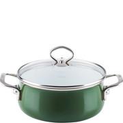 R-0707-013 Garnek mały ze szklaną pokrywą, zielony, emalia porcelanowa Riess Verde 1 Litr (R-0707-013)