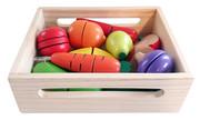 Warzywa i owoce na rzepy do krojenia w drewnianej skrzynce Nefere