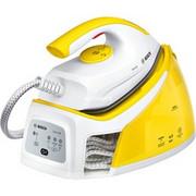 Bosch Serie 2 TDS2120 stacja parowa 2400 W 1,5 l Stopa żelazka z palladu Biały, Żółty, Stacja parowa do prasowania Biały/Żółty, 2400 W, 4,5 bar, 1,5 l, 200 g/min, 110 g/min, Stopa żelazka z palladu