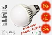 Żarówka LED SMD XH 6043 9W 230V E27 120st. 3000K Ciepła Biel ELMIC CLASSIC mleczna ELMIC