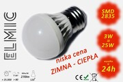 Żarówka LED SMD XH 6043 3W 230V E27 120st. 3000K Ciepła Biel ELMIC CLASSIC mleczna ELMIC