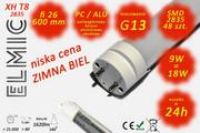 Świetlówka liniowa LED SMD 48 szt. XH T8-2835 fi 26x600 9W 230V 180st. 6500K Zimna Biel ELMIC ELMIC