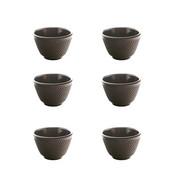 Żeliwne Czarki do herbaty czarne- zestaw 6 szt czarki do zielonej herbaty Kwiat Lotosu