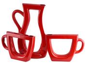 Zestaw ceramiczny czerwony imbryk i filiżanki zestaw dekoracyjny Kwiat Lotosu