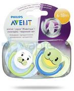 Avent Philips Animal smoczek gryzak silikonowy ortodontyczny dla dzieci 6-18m 2 sztuki [SCF182/24] Avent Philips