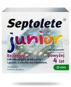 Septolete Junior o smaku czereśniowym bez cukru 18 pastylek Krka Polska