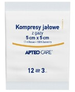 Apteo Care Kompresy jałowe 5 cm x 5 cm 3 sztuki Apteo