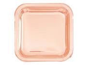 Talerzyki kwadratowe różowe złoto - 18 cm - 8 szt.