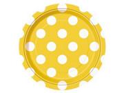 Talerzyki urodzinowe żółte w białe kropki - 18 cm - 8 szt.