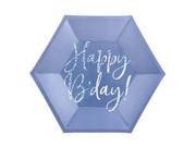 Talerzyki urodzinowe granatowe Happy B'day - 20 cm - 6 szt.