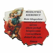 Plakietka drewniana MAPA POLSKI Św.Krzysztof/modlitwa 4x4cm - 62597