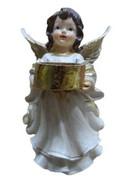 Figura Anioł na świeczkę stojący 20cm biało - złoty HG-8560HC - 59362