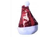Czapka świąteczna Mikołaja święta czerwona cekiny
