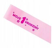 Szarfa na roczek różowa dziewczynka urodziny 41 cm