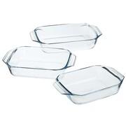 Pyrex Zestaw 3 prostokątnych naczyń do piekarnika, szkło, 912S734/6143 Pyrex 527765