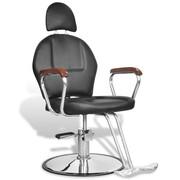 vidaXL Profesjonalny fotel fryzjerski ze sztucznej, czarnej skóry z zagłówkiem vidaXL 110122
