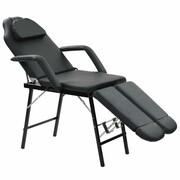 vidaXL Przenośny fotel kosmetyczny, ekoskóra, 185 x 78 x 76 cm, czarny vidaXL 110161
