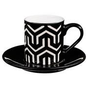 Filiżanka do espresso z podstawką GEOMETRIC, 90 ml, czarno-biała - wzór 2 Secret de Gourmet