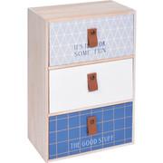 Mini komoda z 3 przegródkami, kolor niebieski, 27 x 10 x 10 cm - niebieski Home Styling Collection