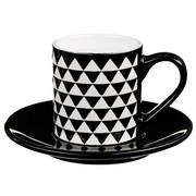 Filiżanka do espresso z podstawką GEOMETRIC, 90 ml, motyw trójkątów - wzór 1 Secret de Gourmet