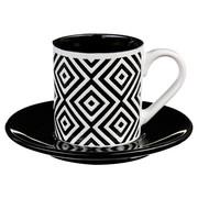 Filiżanka do espresso z podstawką GEOMETRIC, 90 ml, motyw zigzag - wzór 4 Secret de Gourmet