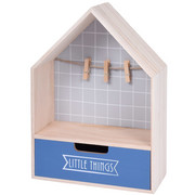 Mini komoda z szufladką i wieszakiem na zdjęcie, 28 x 20 cm, kolor ciemnoniebieski - ciemnoniebieski Home Styling Collection