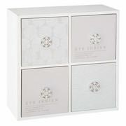 Mini komoda na biżuterię i drobiazgi z 4 przegródkami, 24 x 24 cm, kolor biały Atmosphera