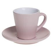 Filiżanka do espresso ELENA z talerzykiem, 100 ml, kolor różowy - różowy Secret de Gourmet