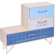 Mini komoda na metalowych nóżkach, 3 przegródki, 30 x 25 x 5 cm, kolor niebieski - niebieski Home Styling Collection
