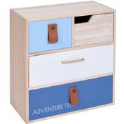 Mini komoda z 4 przegródkami, 21 x 22 x 5 cm, kolor niebieski - niebieski Home Styling Collection