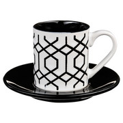 Filiżanka do espresso z podstawką GEOMETRIC, 90 ml, biało-czarna - wzór 3 Secret de Gourmet