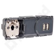 Gniazdo podtynkowe Celiane 2P+Z 2XUSB 2400MA montaż w puszce podwójnej otwartej 067106 Legrand