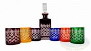 Kolorowy kryształowy zestaw do Whisky Krata Oliwka Marika